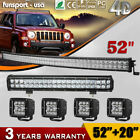 Curved 52inch LED Light Bar+20 Spot Flood+4 Pods for Ford JEEP 4x4 Truck 54