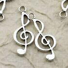 25 Tibetan Antique Silver Musical Treble and Bass Clef Charm Pendant