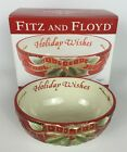 Fitz and Floyd Damask Holiday Sentiment Bowl Holiday Wishes w/ Box Red Gold