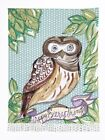 Julia Junkin Owl Kitchen Towel Blue/Green, New