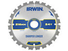 IRWIN IRW1897395 Construction Circular Saw Blade 216 x 30mm x 24T ATB/Neg M