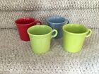 4 Fiesta Tom And Jerry Mugs Chartreuse Scarlet Periwinkle Excellent Condition !