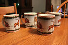 Set Lot 4 Christmas Sakura Cups Mugs David Carter Brown Christmas Deck the Halls