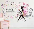 Butterfly Flower Fairy Girl Removable PVC Wall Sticker Home Decor Wall Decal USA