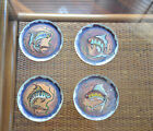 VINTAGE KRELAGE HOLLAND ART HAND PAINTED FISH COPPER 4 COASTERS BRIGHT COLORS