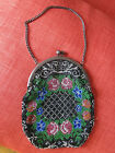 VINTAGE Hand Made ca1940s Beaded Purse. Flower Motif. Clasp. Chain. Art Deco