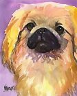 Pekingese Art Print Signed by Artist Ron Krajewski Painting 8x10 Dog