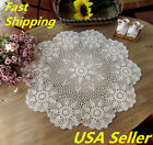 US STOCK 26 Round Hand Crochet Ecru Doily Floral Table Cloth Centerpiece Runner