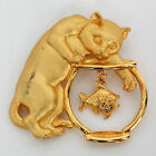 Gold plated satin and shiny finish brooch CAT PLAYING WITH FISH Lot 13G