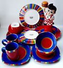 DANSK 12 pc Caribe Antigua Stripe Dish Set Plates Bowls Mugs Cups FREE SHIPPING