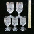 5 Small Wine Goblet Glasses Anchor Hocking Wexford Glass Diamond Pedestal Base