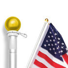 5 Feet Wall Mount FlagpoleANLEY Aluminum Flag Pole with Rotating Ring Ball Top