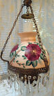 ANTIQUET VINTAGE HANGING PARLOR LAMP CRYSTALS RED ROSES HAND PAINTED SHADE