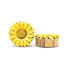 YELLOW DAISY SONO WOOD PLUGS DOUBLE FLARE TUNNELS GENUINE ORGANIC GAUGES PAIR