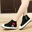Womens Wedge High Top Canvas Fashion Lace Up Casual Sneakers Flat Shoes 2 Colors