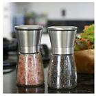 Salt And Pepper Shakers Stainless Steel Spice Grinder Matching Stand Mill Pair