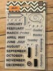 HELLO Basic grey Month  Days clear acrylic stamps Used Rubber Stamping