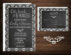 Wedding Invitations  RSVP Cards 50 Eat Drink  Be Married Damask Chalkboard