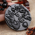 Ebony Wood Carving Chinese Fengshui Dragon Phoenix Sculpture Beads Car Pendant