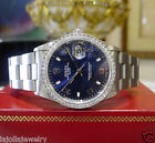 Mens ROLEX Oyster Perpetual Date Stainless Steel Diamond Blue Dial Watch