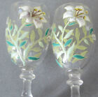 2 Antique Bohemian Blown Glass HP Enameled CORDIAL Glasses LILIES Flowers + Buds