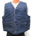 vtg Carhartt DARK BLUE SHERPA LINED JEAN VEST XL 80s jacket denim 8SV work usa