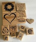 Retired Stampin Sketch It 12 PC Wood Stamps Thanks Flower