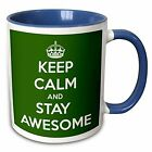 EvaDane Quotes Keep calm and stay awesome Green 11oz Two Tone Blue Mug New