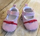 Luvable Friends Baby Girl Bow Dress Crib Shoe Red White Stripe Size 0 6 Months