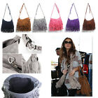 Lady Faux Suede Leather Tassel Fringe Cross Body Shoulder Handbag Messenger Bag