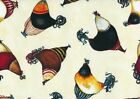 Timeless Treasures Jennifer Garant Haughty French Hens Cream Cotton Fabric BTY