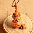 Wood Carving Chinese Feng Shui Geomancy Lion Foo Dog Statue Key Chain Ring