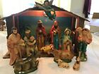 Vintage Musical light up Nativity Set Christmas Paper Mache Japan Painted