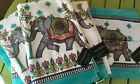 CYNTHIA ROWLEY DECORATED ELEPHANT SET OF 6 BATH TOWELS TURQUOISE GRAY WHITE NEW