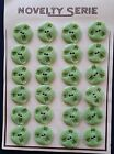 Vintage Buttons 1930s 24 Celery Green 2 hole Carved Casein Buttons