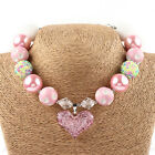 Beautiful Girls Kids Love Heart Pendant Acrylic Beaded Chunky Necklace Jewelry