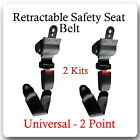 2 Kits  Universal Strap Retractable Car Trucks Safety Seat Belt Black 2 Point