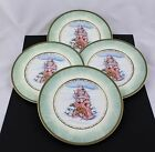 SET OF 4 FITZ AND FLOYD CHINA WINTER HOLIDAY SANTA PORTRAIT SALAD PLATES - NEW