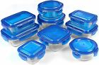 Glass Storage Container Set Blue 18 Piece FDA Approved Reusable Utopia