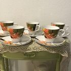 Sango 7001 Larry Laslo 1986 Maui set of 5 cups and oval saucers bird of paradise