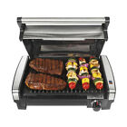 Hamilton Beach Searing Indoor Grill w/ Lid Window Cast Aluminum Stainless Steel