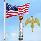 YesHom 30 Telescopic Aluminum Flag Pole Kit Eagle Top +Gold Ball Finial +Flag