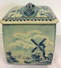 Royal Verkade Vintage Dutch Holland Windmill and Boats Biscuit Cookie Tin Large
