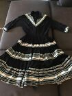 VINTAGE PATIO SQUAW DRESS BLACK WITH SILVER AND BLUE RIC RAC