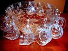 Beautiful Contemporary Clear Glass Punch Bowl with Pedestal and 12 Punch Glasses