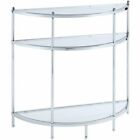 Convenience Concepts Royal Crest Glass Console Table in Chrome