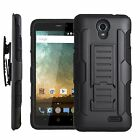 For ZTE ZFIVE 2 Heavy Duty Hybrid Holster Stand Case Cover +LCD