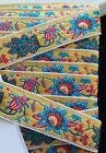 Vintage Jacquard Trim Bright Color Design Embroidered 3 4 Trim by the Yd