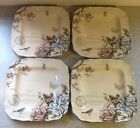 222 Fifth Square Dinner Plates. Aubais. Set Of 4. Blue And Pink Flowers. New.
