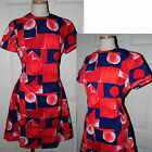 Vintage 1960s-Fab Mod Red Navy Blue Go Go Abstract Shift Day Summer Dress L